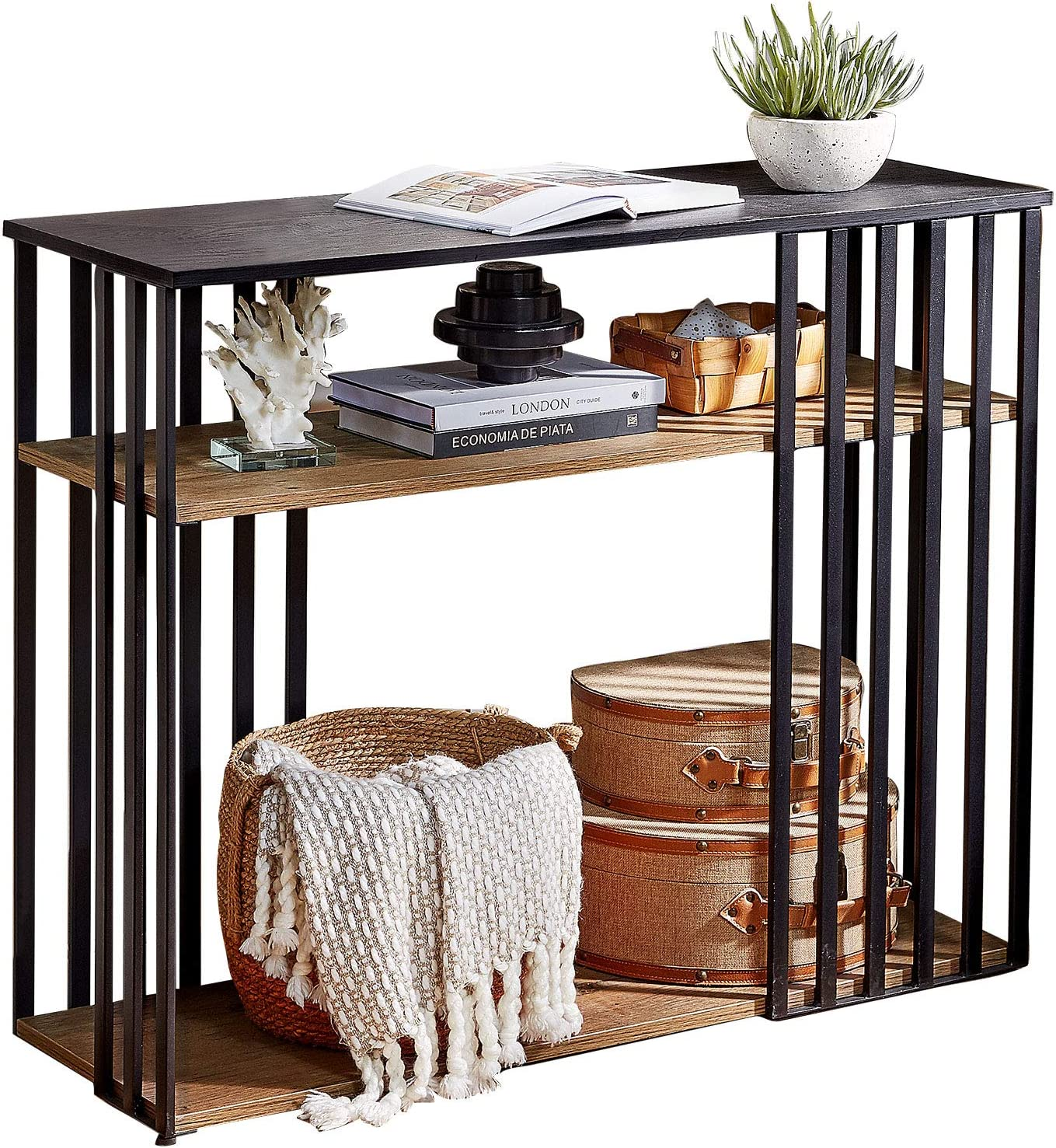Linsy Home 3-Tier Vintage Long Console Table, Open Shelf for Living Room Entryway, Black Wood with Metal Frame, LS209N2-A