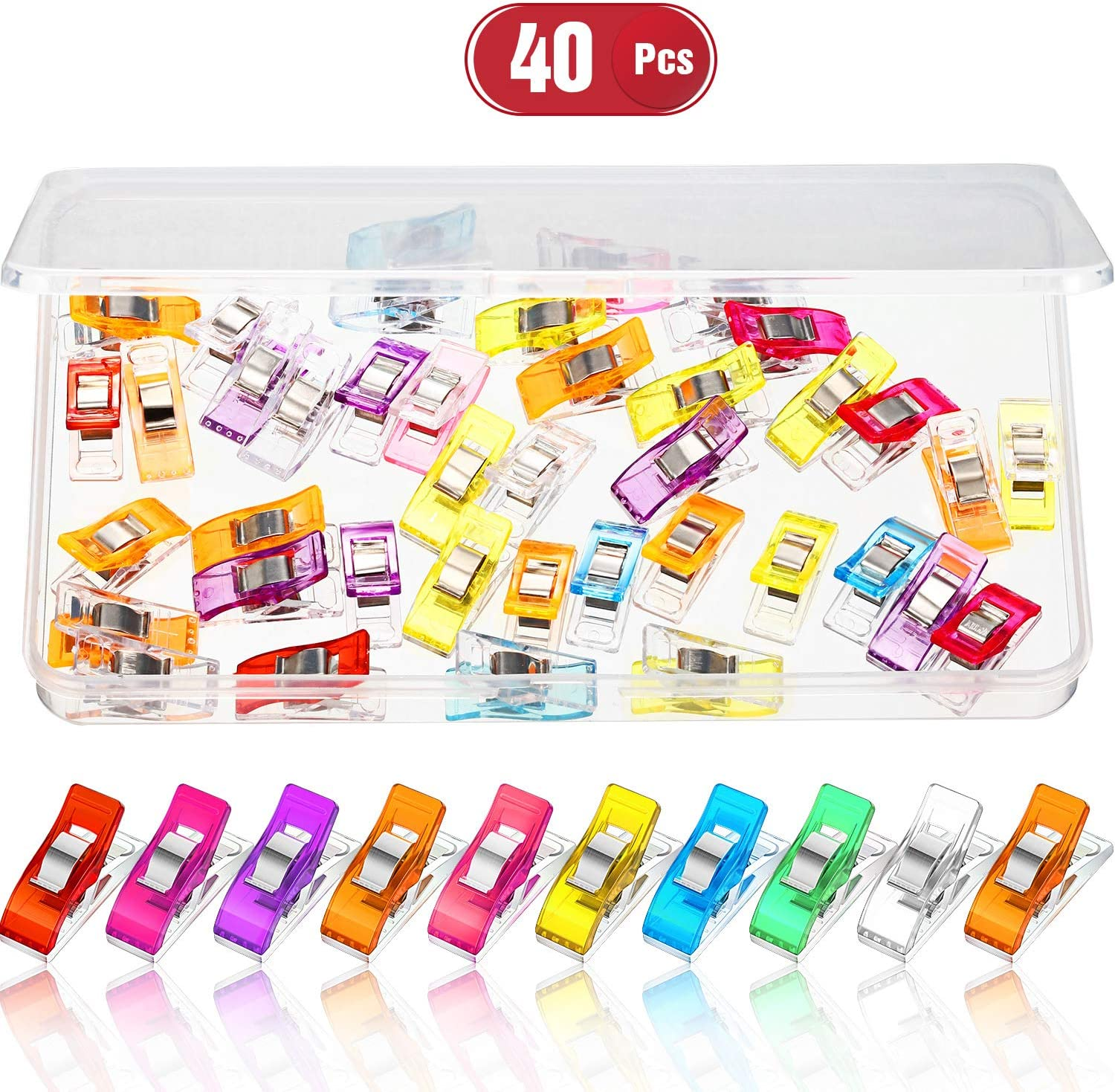 40 Pieces Multipurpose Sewing Clips Colorful Sewing Quilting Fabric Clips Plastic Binding Clips Craft Quilting Clips Sewing Clamps with Storage Box for Sewing Quilting Knitting Assorted Colors
