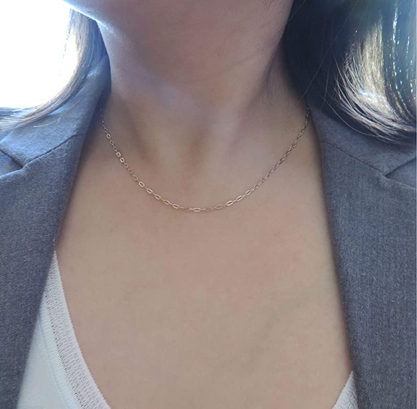 Rose Gold Silver Drawn Cable Necklace 14k Open Link Chain Necklace Rectangle Link Necklace Modern Cable Short Chain Necklace