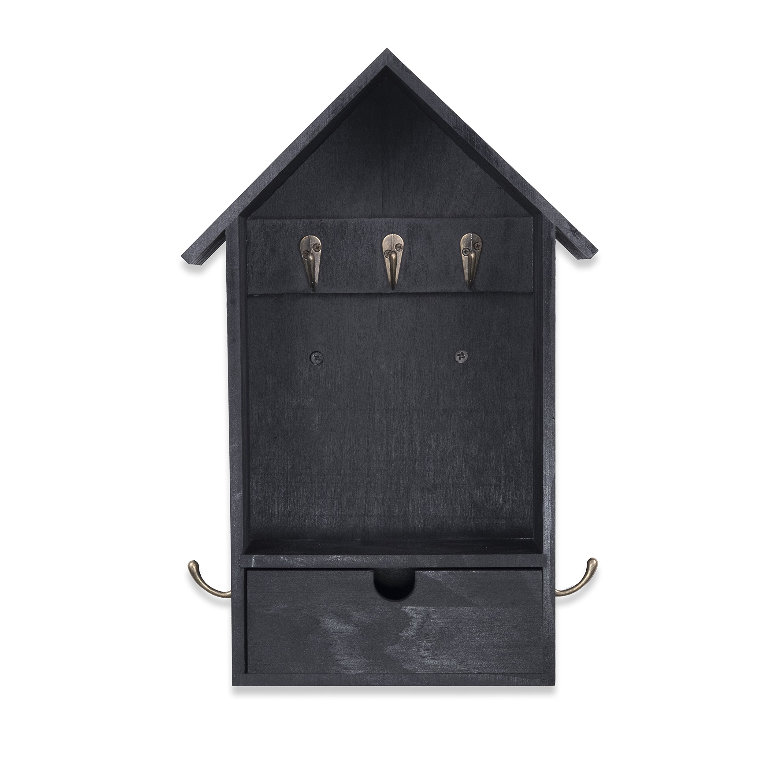 House Shape Unique Design Wall Mount Entryway Organizer Key and Coat Rack (Black) by Brightmaison (Image #3)