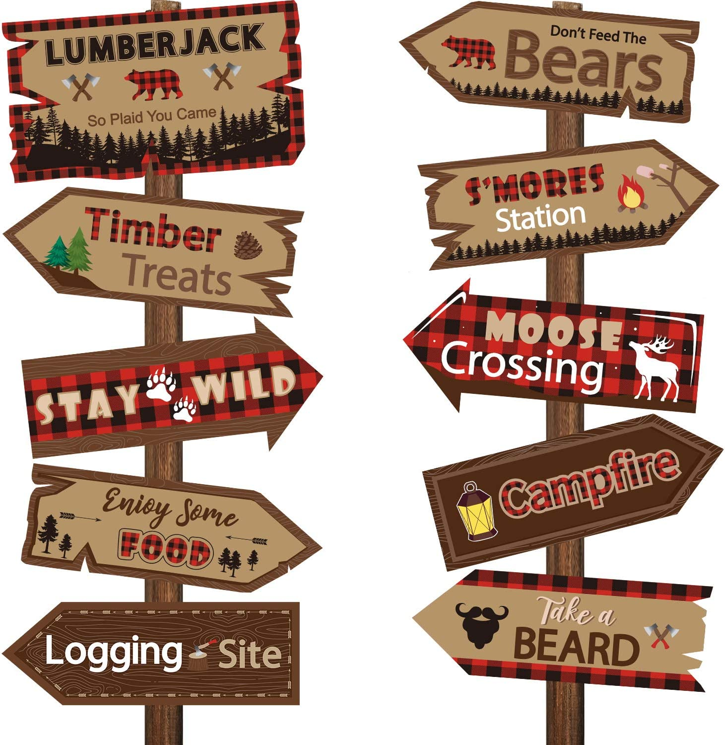 20 Pieces Lumberjack Party Directional Welcome Signs Door Cutouts Camping Winter Birthday Party Favor Ideas Decoration Supplies