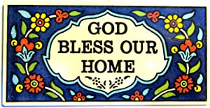 Bethlehem Gifts TM Armenian Ceramic Door Sign Home Wall Blessing Plaque by (God Bless Our Home)