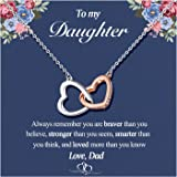 Interlocking Heart Necklace for Daughter/Granddaughter, Necklaces from Mom Mother Dad Grandma, Birthday, Back to School Gifts