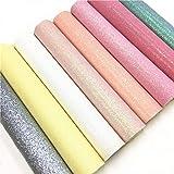 "ZAIONE 8 pcs A4 (8"" x 12"") Sheets ColorfulPastel Fine Glitter Vinyl Fabric Sparkle Leather Material Crafts Bow Decor…"