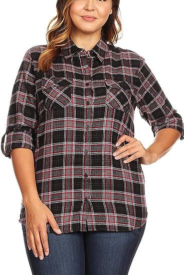 88c67f16ed6c5 Women s Regular Size Button Down Plaid Checker Flannel Shirts Black Red Grey  S