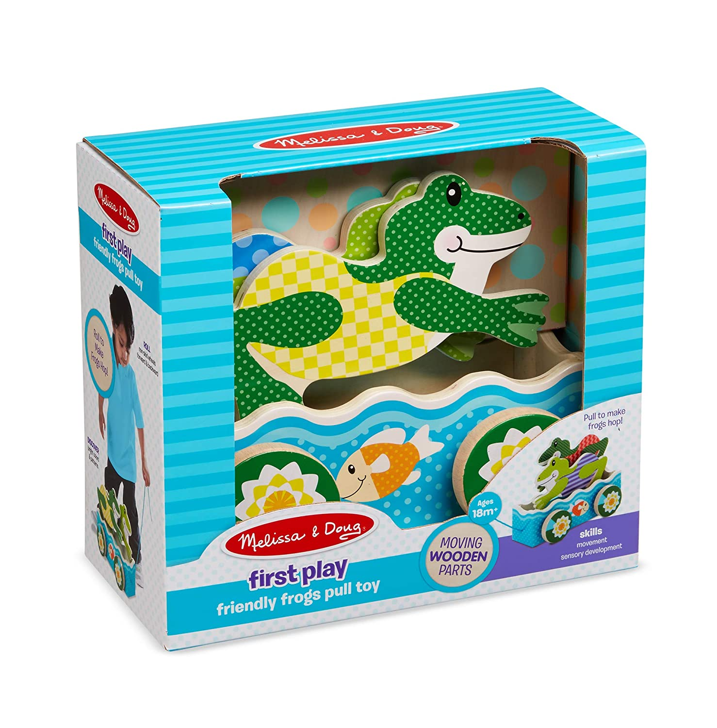 Multicolor Melissa /& Doug 3615 First Play Friendly Frogs Wooden Pull Toy
