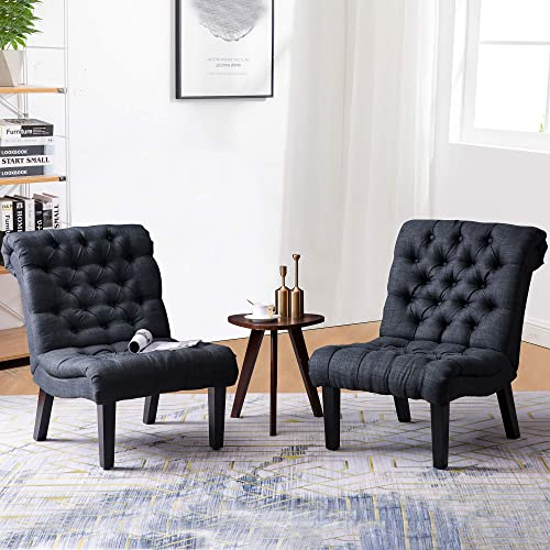 Yongqiang Accent Chair Set of 2 Button Tufted Upholstered Chairs