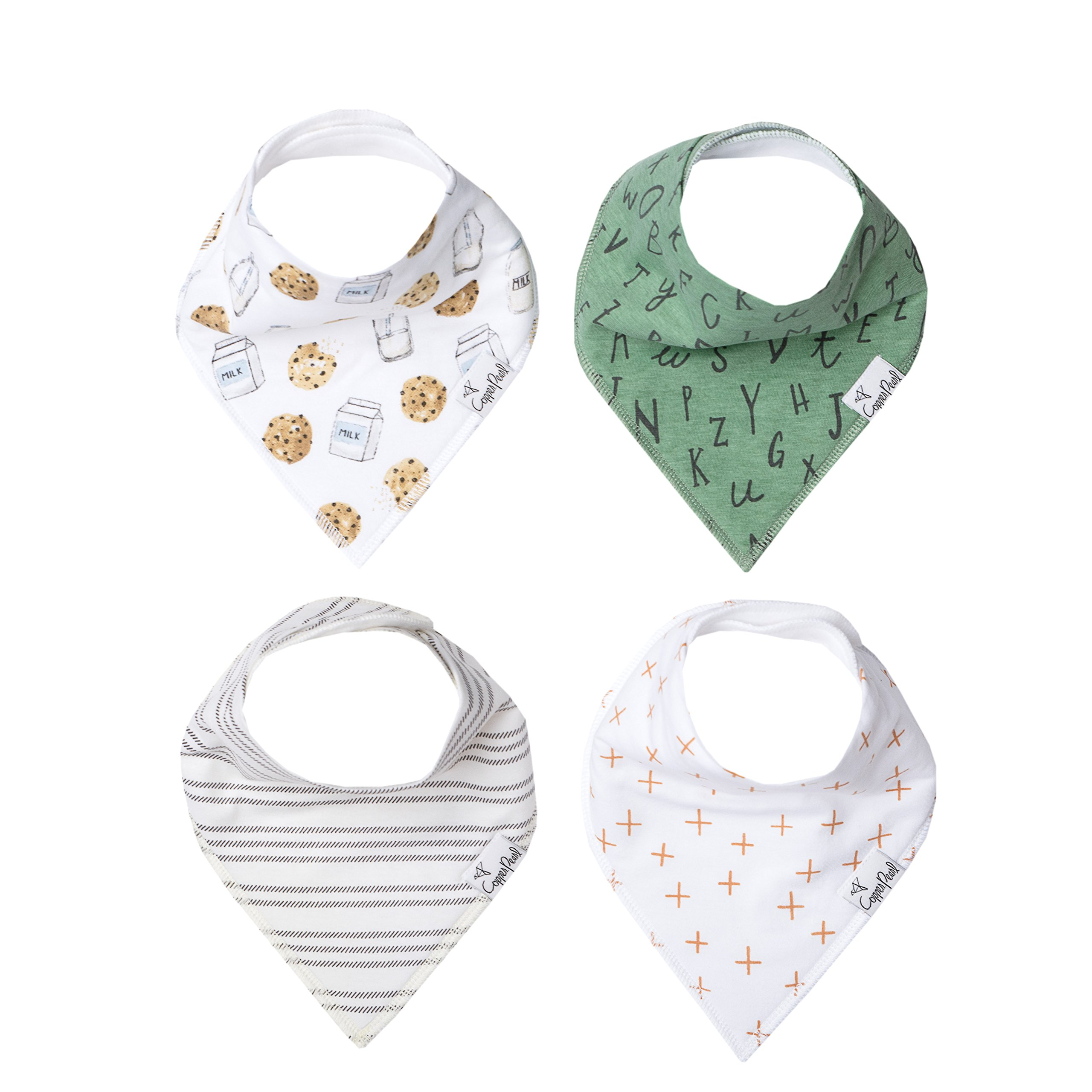 """Baby Bandana Drool Bibs 4 Pack Gift Set for Boys Or Girls """"Chip Set"""" by Copper Pearl"""