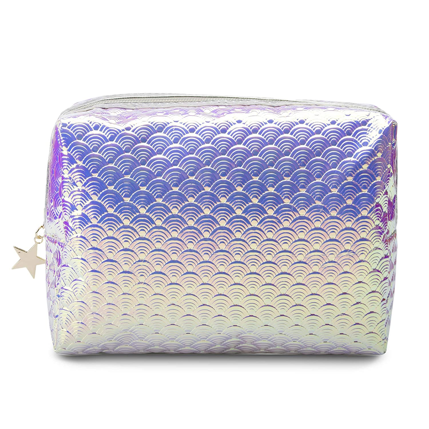 08c5cc347146 Holographic Mermaid Makeup bag Cosmetic Bag Toiletry Travel Bag Handy Large  Protable Wash Pouch...