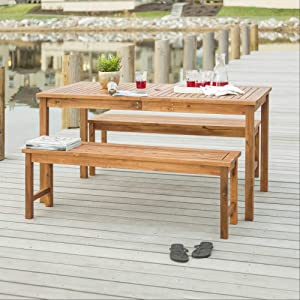 Walker Edison 6 Person Outdoor Wood Patio Furniture Dining Set Table BenchAll Weather Backyard Conversation Garden Poolside Balcony Brown3 Piece