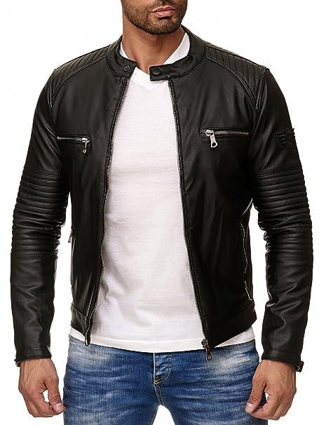 speziell für Schuh wie man kauft günstige Preise Reslad Kunstlederjacke Herren-Jacke Leder-Jacke Gesteppte Ärmel  Übergangs-Jacke Männer Biker-Jacke RS-9015 Schwarz