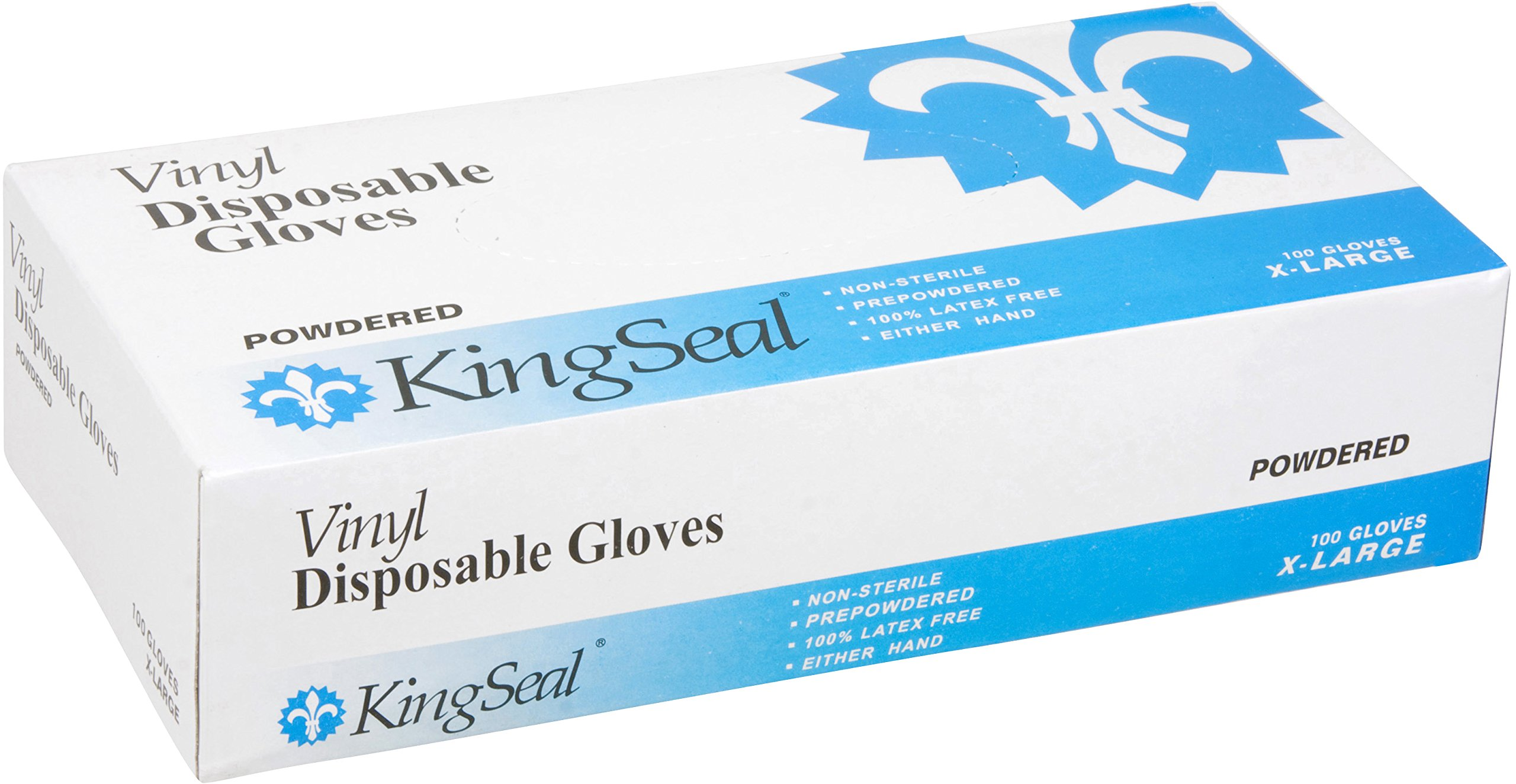 KingSeal Vinyl Disposable Gloves, Powdered, 4 mil, Clear, Medium, 10 bx/100 per Case by KingSeal (Image #2)