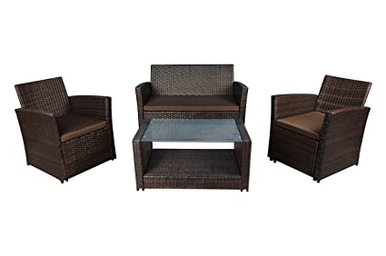 Amazon.com : Modern Outdoor Garden, Patio 4 Piece Set - Wicker Sofa ...