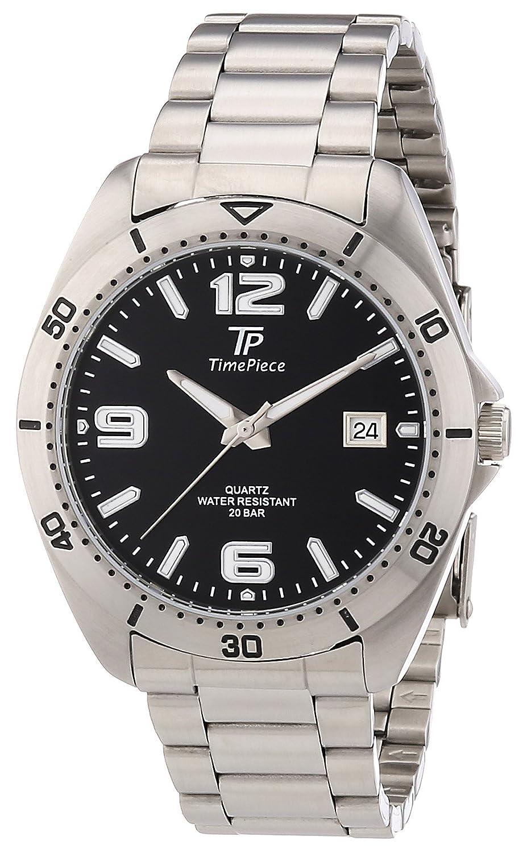 TP Time Piece Sporty TPGS-30163-21M - Reloj analógico de Cuarzo para Hombre, Correa de Acero Inoxidable Color Plateado (Agujas luminiscentes)