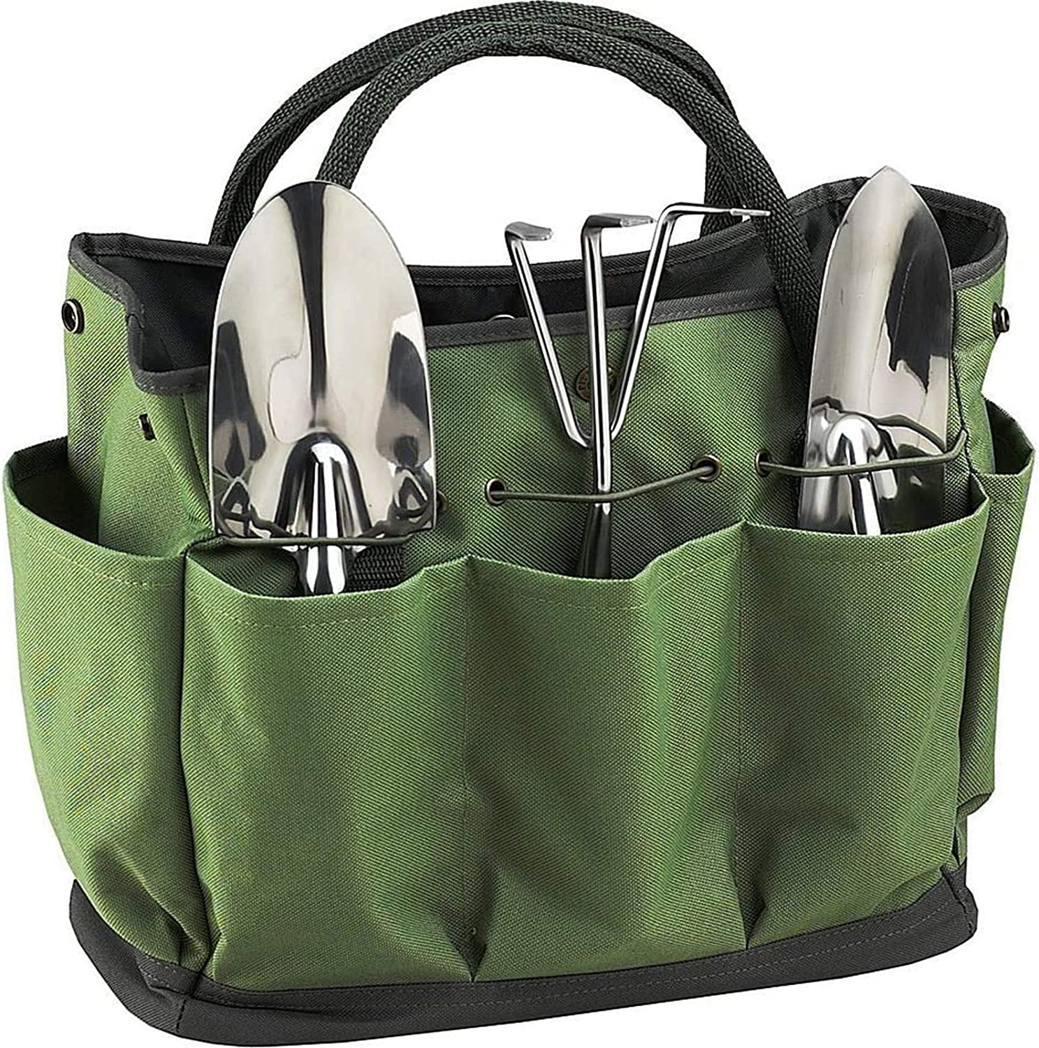 Yabcany Garden Tote, GardenTool Bag Home Organizer Storage Bag Gardening Tool Kit with 8 Oxford Pockets for Indoor and Outdoor Gardening