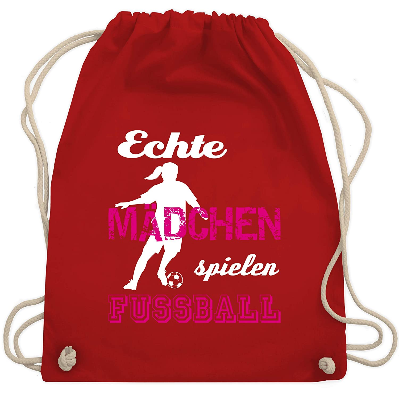 Fu/ßball Turnbeutel /& Gym Bag Echte M/ädchen spielen Fu/ßball wei/ß