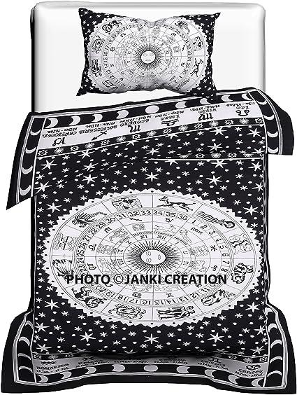 Copripiumino Singolo Dimensioni.Black And White Astrology Cotone Copripiumino Singolo Arazzo