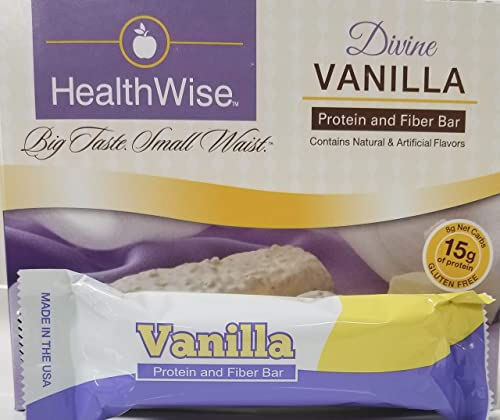 Healthwise - Divine Vanilla Gluten Free Diet Snack Bars Hunger Control and Appetite Suppressant High Protein, Low Fat, Chol Free, Low Net Carbs, High Fiber 7 Bars