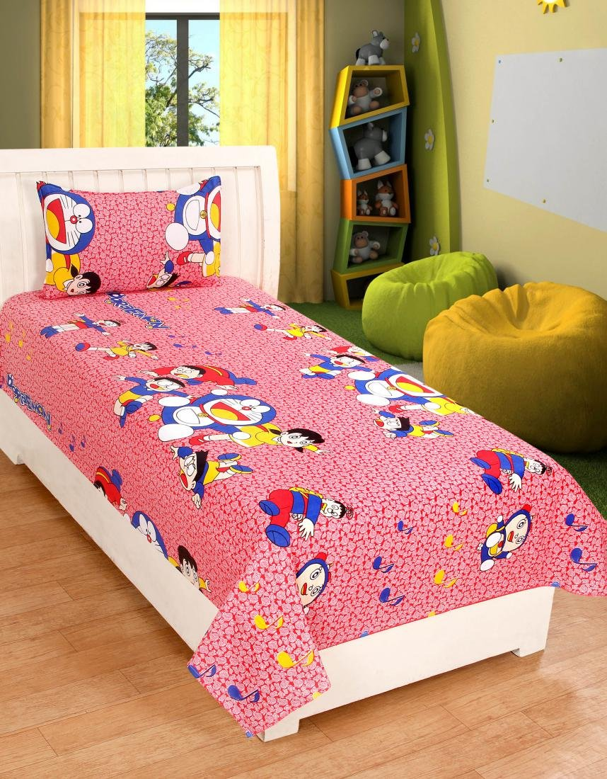 Zainhome Cartoon Design Cotton Single Bed Sheet With 1 Pillow Cover Standard Multicolour Amazon In Home Kitchen