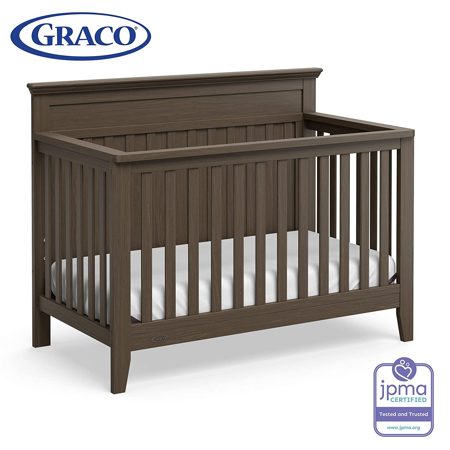 Graco Georgia 4-in-1 Convertible Crib Slate Gray Easily Converts to Toddler Bed, Daybed, and Full-Size Bed, 3-Position Adjustable Mattress Support Base, Rustic Style