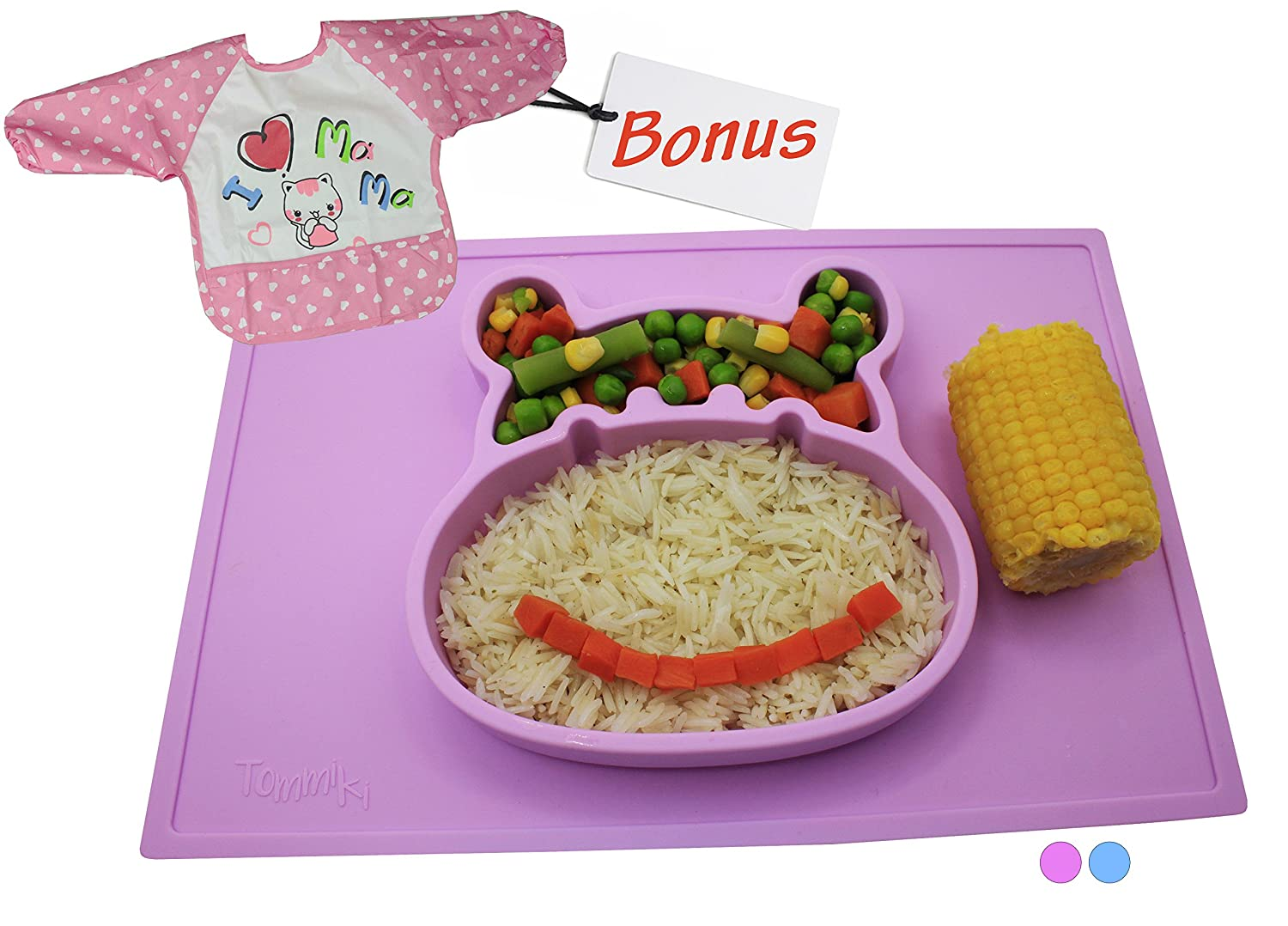 Baby Silicone Placemat for Toddlers and Kids Heat Resistant One-Piece Hippo Feeding Plate/Bowl Designed to Suction & Fit All Chairs and Trays & Matching Bib with Sleeves (Pink)-12 Month Warranty Tommiki