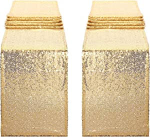 Yetomey 2Pcs 12x108-inch Sequin Table Runner Glitter for Wedding Graduation Party Birthday Baby Shower Dresser Decorations (Champagne Gold)