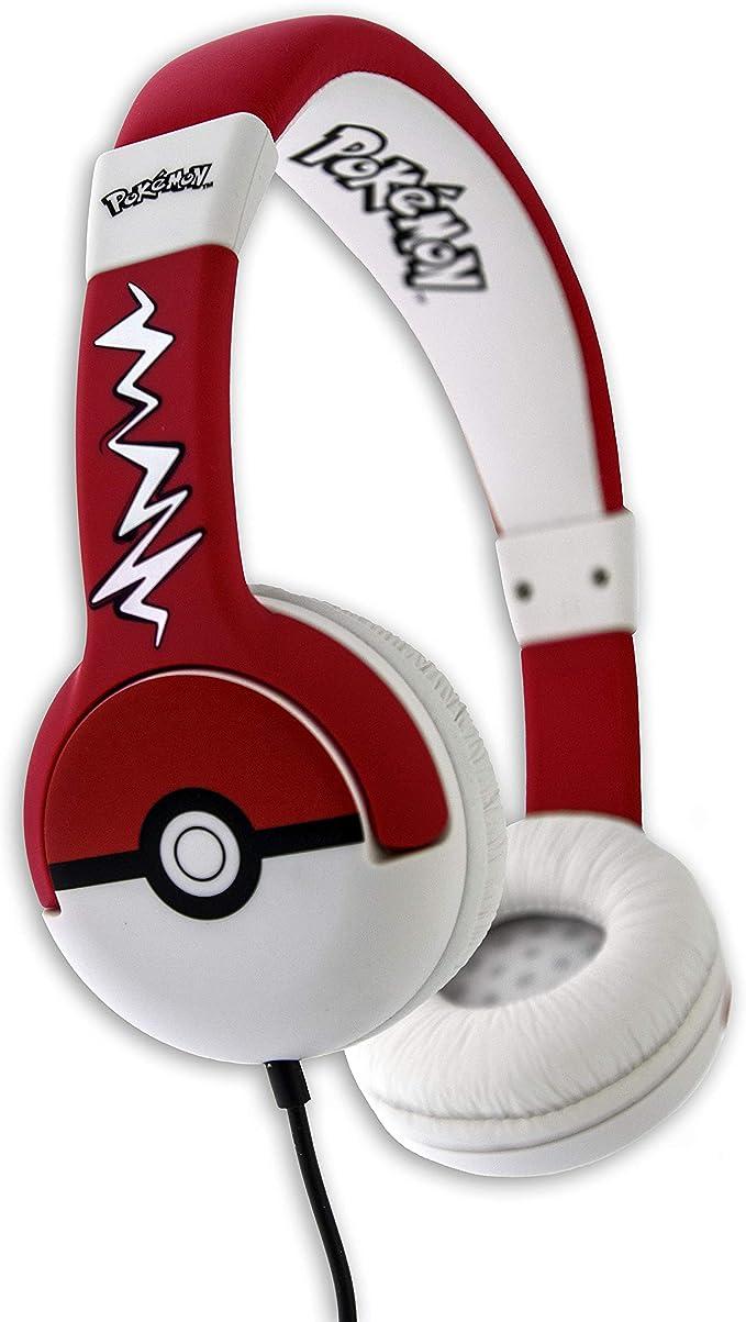 OTL Technologies JUNIOR Kinder Kopfhörer Pokemon Pokeball (gepolsterte Bügel, Lautstärke Begrenzung auf 85 dB, buntes Comic Design, für Jungen und
