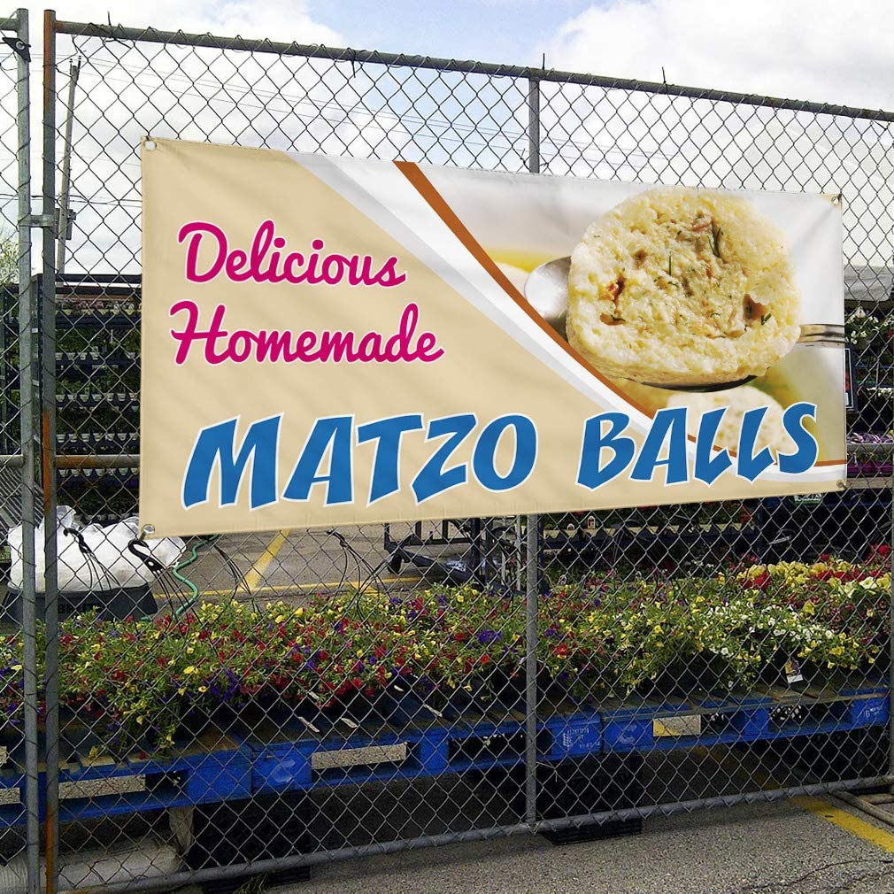 Set of 3 4 Grommets Vinyl Banner Sign Delicious Homemade Matzo Balls Cookies Marketing Advertising White Multiple Sizes Available 24inx60in