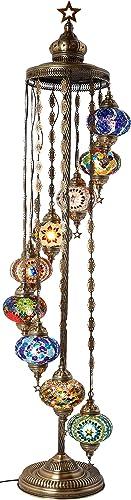 Demmex Turkish Moroccan Mosaic Bohemian Boho Tiffany Multicolor Mood Floor Lamp Light, 9 Big Globes, 6feet