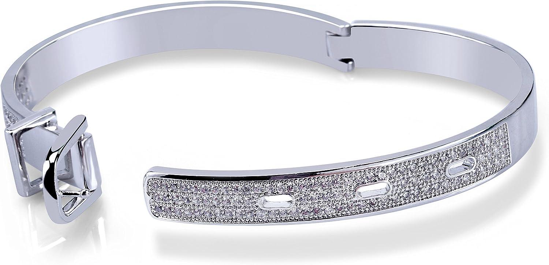 SHINY.U 14K Gold Iced Out CZ Micro Pave Simulated Diamond Cubic Zirconia Wedding Bangle Bracelet for Women Girls Fashion Jewelry