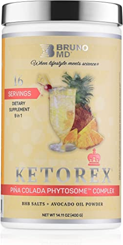 Bruno MD Ketorex Pina Colada Flavor- Exogenous Ketone BHB Salts Avocado Oil Powder, with Clinically-Proven Phytosome Complex – Delicious and Ideal for Paleo Keto Followers. Pina Colada Flavor