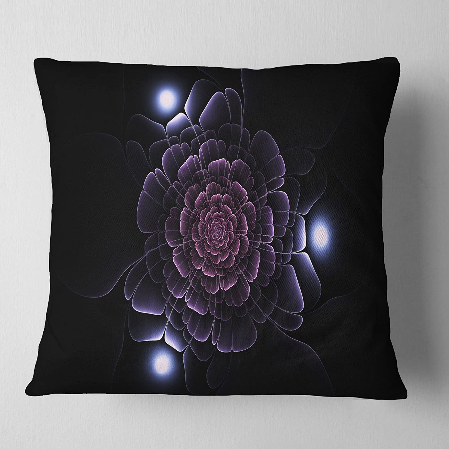Designart CU14096-16-16 Purple Fractal Flower on Dark' Floral Cushion Cover for Living Room, Sofa Throw Pillow, 16 in. x 16 in