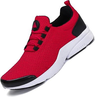 Zapatillas Running para Hombre Gimnasio Zapatos Antideslizante Liviano Deportivas para Correr Trail St.1 Rojo 44 EU: Amazon.es: Zapatos y complementos