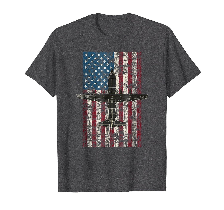 American Flag and C 130 Hercules   Patriotic Aviation Shirt