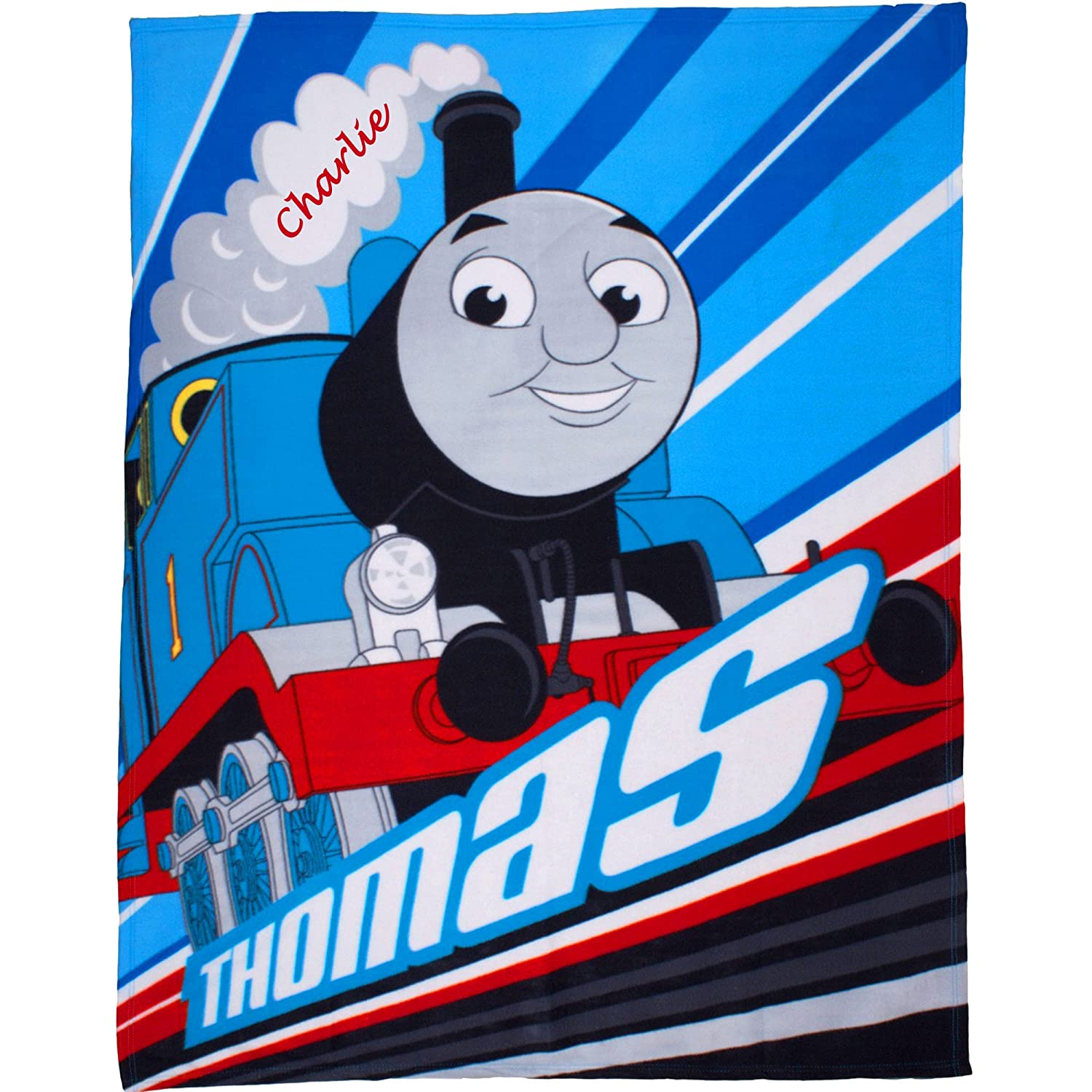 Boy's Personalised Thomas The Tank Engine Super Soft Luxury Fleece Blanket Throw Thomas & Friends