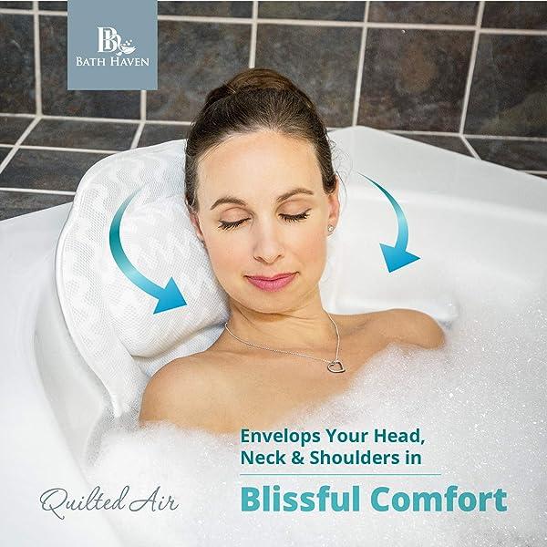 Soft Bath Tub Pillow for Comfort Neck /& Back Open Air Fiber Spa Foam fill NEW