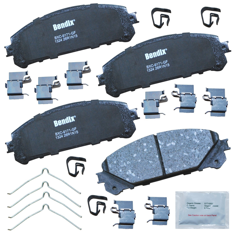 Bendix CFC1324 Premium Copper Free Ceramic Brake Pad with Installation Hardware Front