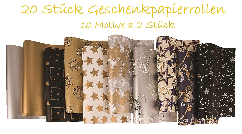 20 Rollen Weihnachtspapier, Geschenkpapier, Weihnachten Motive Gold ...