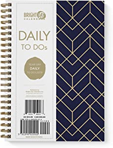 to Do List Daily Task Checklist Planner Time Management Notebook by Bright Day Non Dated Flex Cover Spiral Organizer 8.25 x 6.25 (Blue Gold Geometrics)