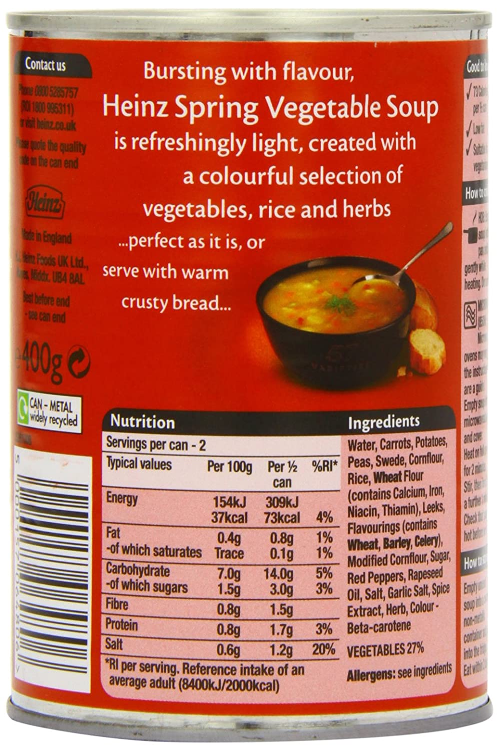 Heinz Classic Spring Vegetable Soup, 400 g (Pack of 24)