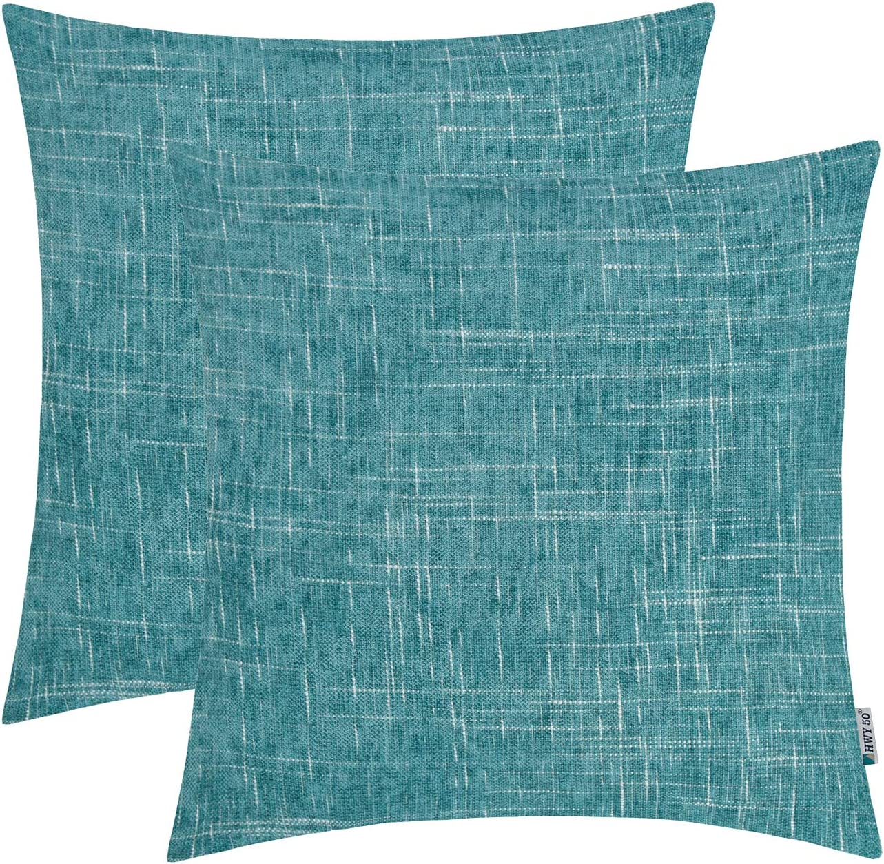 HWY 50 Chenille Soft Comfortable Decorative Throw Pillows Covers Set Cushion Cases for Couch Sofa Car 18 x 18 inch Cyan Pack of 2