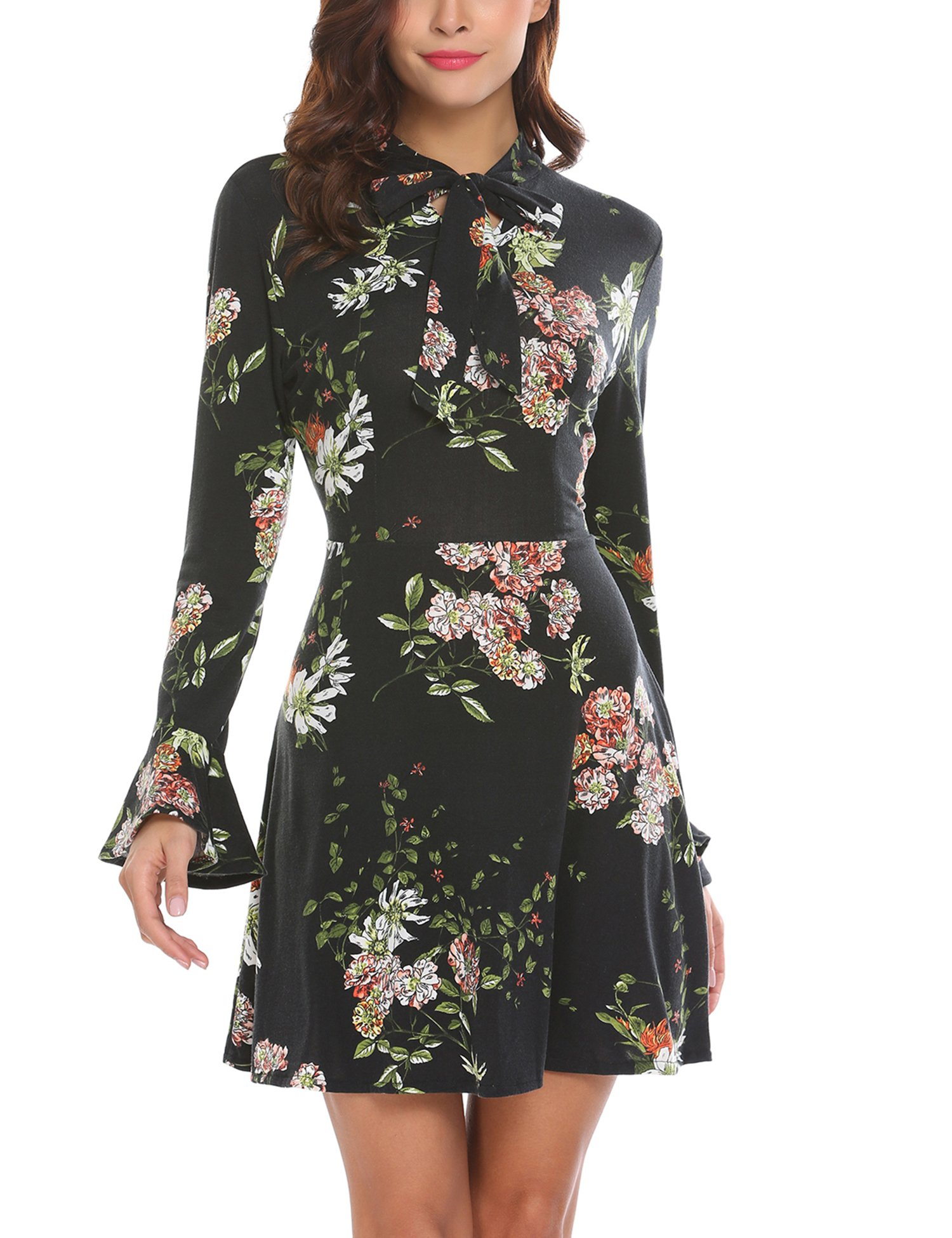 ACEVOG Women's Casual Floral Print Bell Sleeve Fit and Flare Dress (X-Large, Black) by ACEVOG (Image #1)