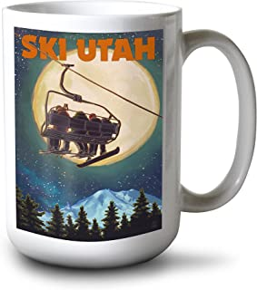 product image for Lantern Press Ski Utah - Ski Lift and Full Moon (15oz White Ceramic Mug)