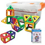 60 pcs Magnetic Blocks Set - STEM Educational Magnetic Construction Building Tiles Toys for Kids- with Storage Box (Multi color)
