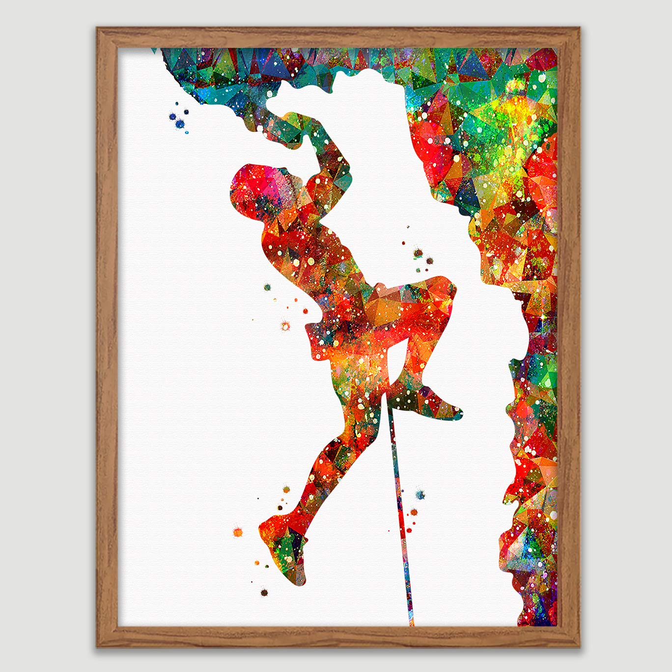 Rock Climbing Watercolor Poster Climber Art Prints Sports Wall Decor Artworks Dining Room Mountain Hanging Gift