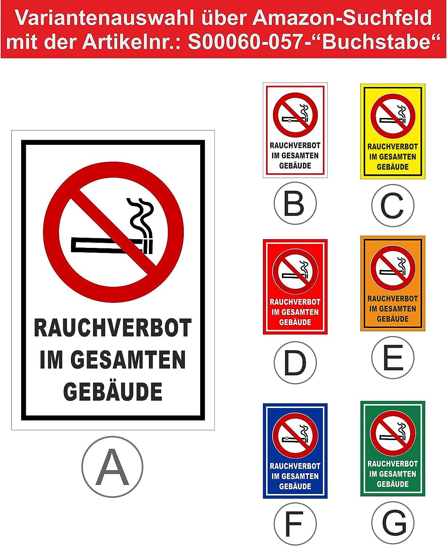 Bohrl/öcher 3mm Aluverbund Melis Folienwerkstatt Schild Rauchverbot Geb/äude 15x10cm 20 VAR S00060-057-A