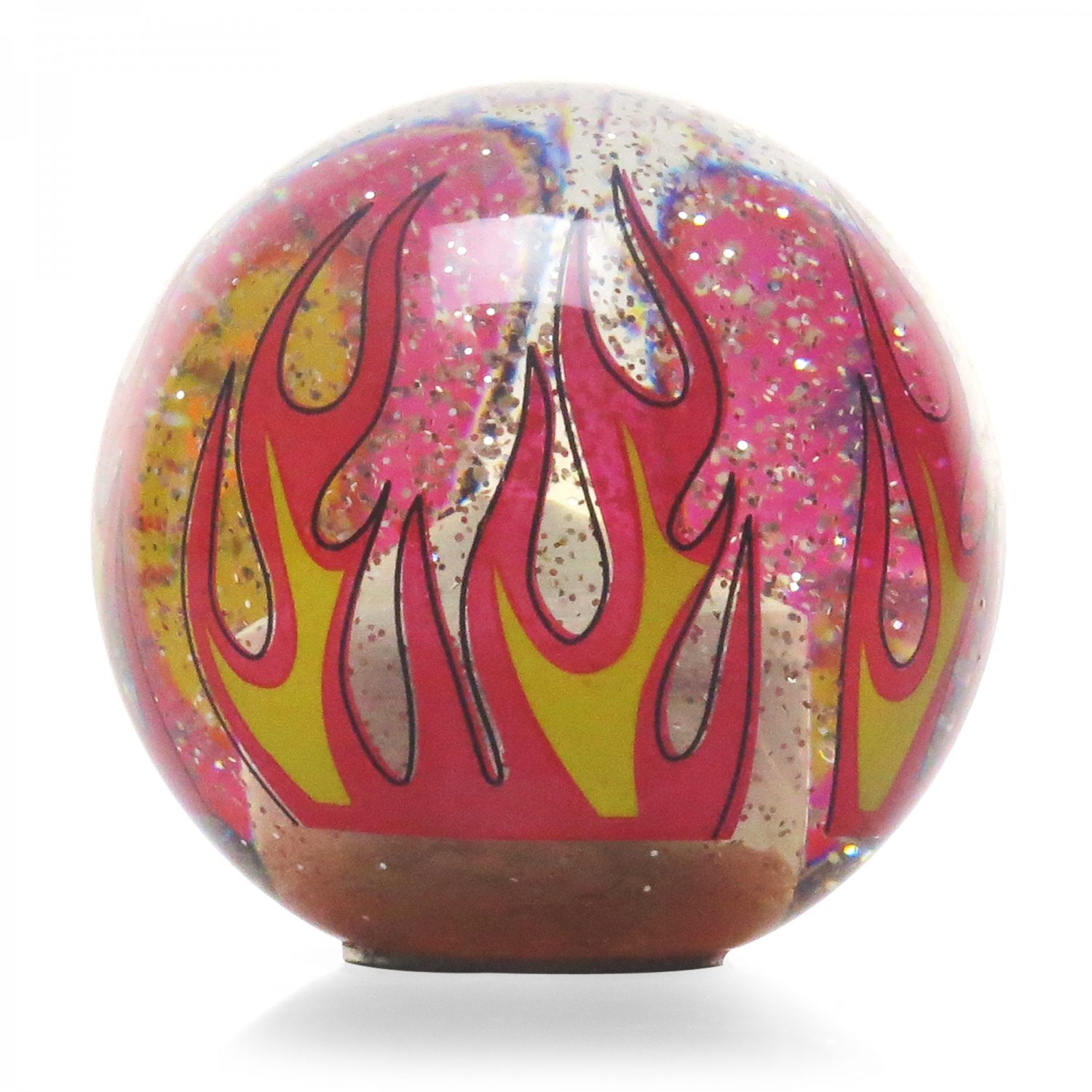 American Shifter 295520 Shift Knob Orange Real Men Drive Stick Clear Flame Metal Flake with M16 x 1.5 Insert