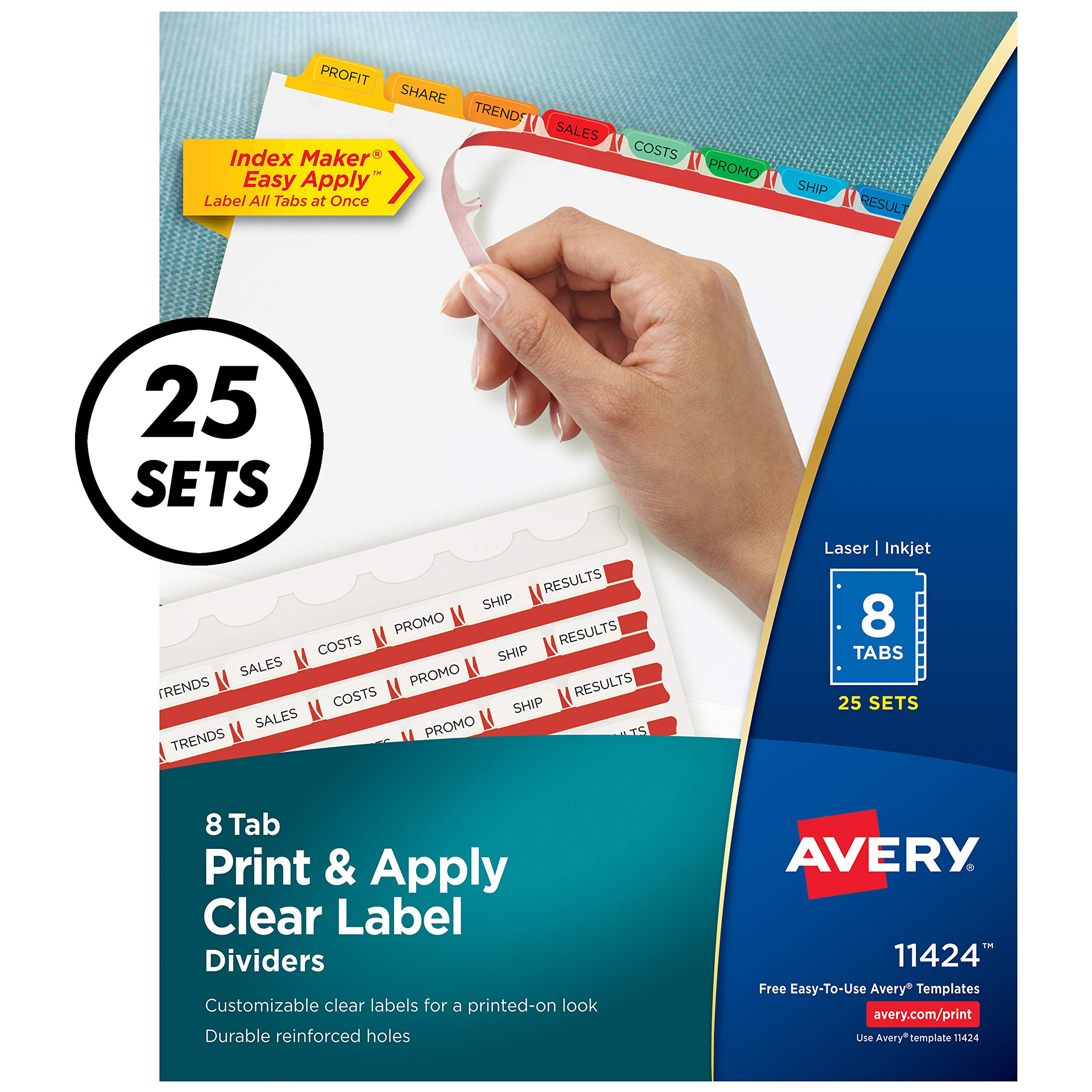 Avery 8-Tab Binder Dividers, Easy Print & Apply Clear Label Strip, Index Maker, Multicolor Tabs, 25 Sets (11424) by Avery