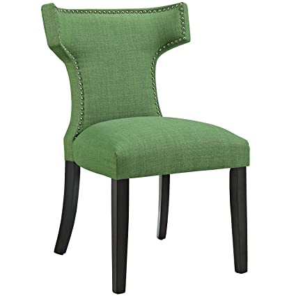 Modway Curve Mid Century Modern Upholstered Fabric Dining Chair With  Nailhead Trim In Kelly Green