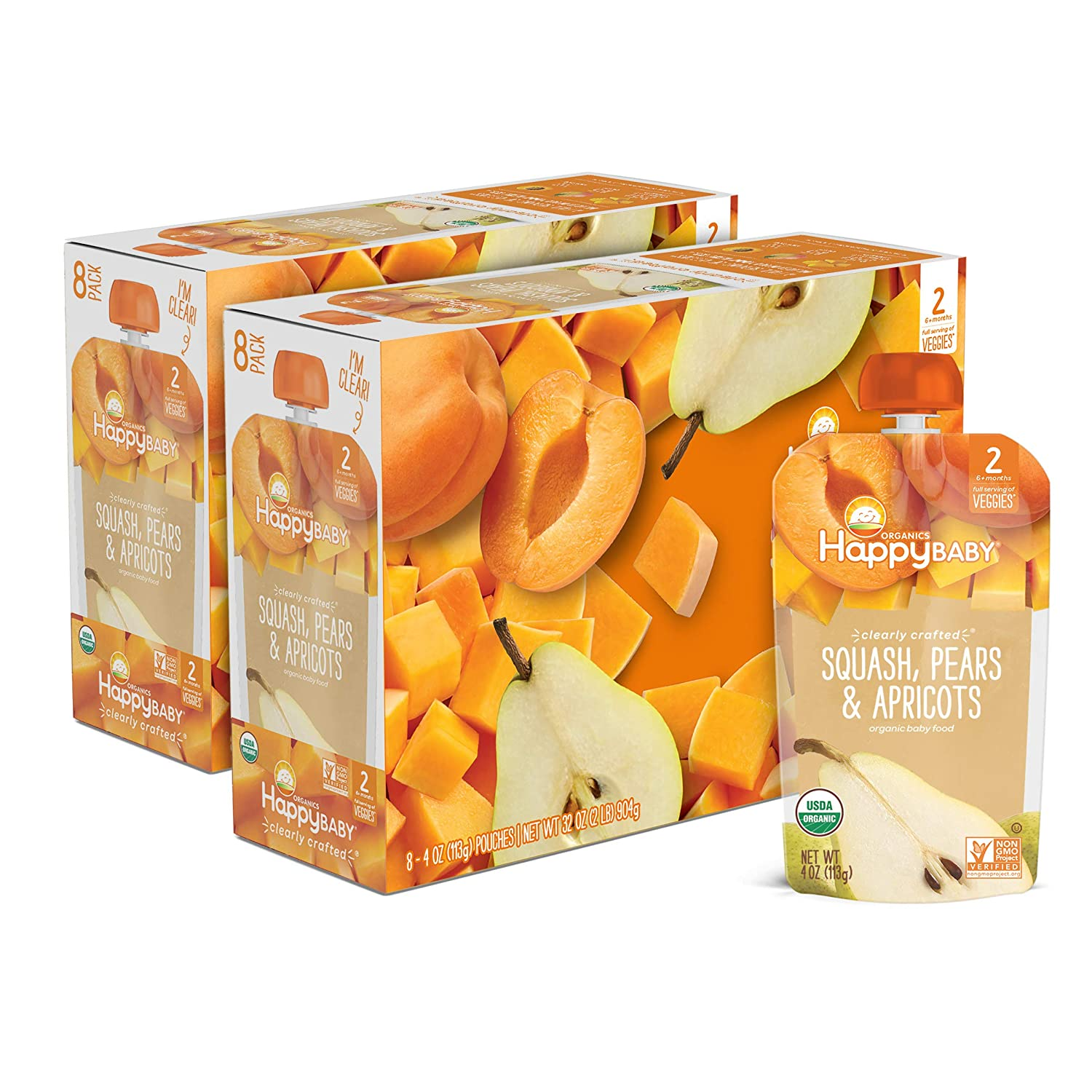 Happy Baby Organics Clearly Crafted Stage 2, Squash, Pears & Apricots, 4 Oz Pouch, 16Count